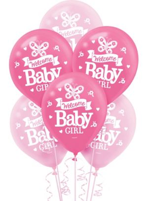 Welcome Baby Girl Baby Shower Balloons 15ct