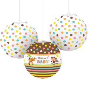 Fisher-Price Jungle Baby Shower Paper Lanterns 3ct