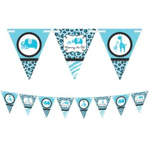 Blue Safari Boy Baby Shower Pennant Banner