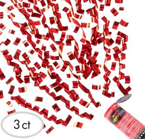 Red Confetti Party Poppers 3ct