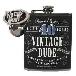 Vintage Dude 40th Birthday Flask