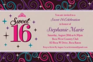 Custom Sweet 16 Celebration Invitations