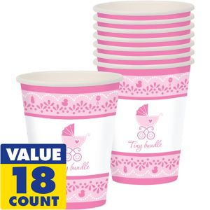 Pink Stroller Baby Shower Cups 18ct