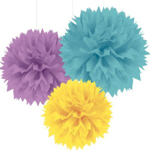 Lavender, Yellow & Teal Fluffy Decorations 3ct