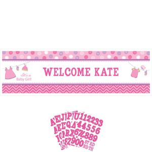 Giant It's a Girl Baby Shower Personalized Banner Kit