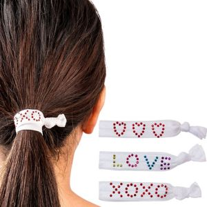 Sweet Heart White Ribbon Hair Ties 3ct