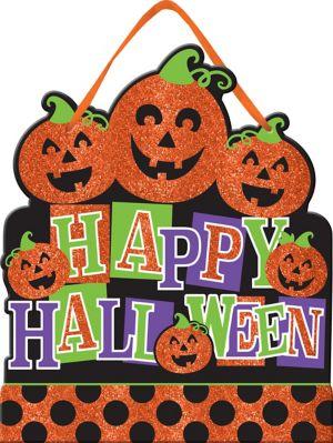 Glitter Jack-o'-Lanterns Happy Halloween Sign