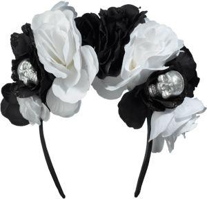 Skull Floral Headband Deluxe - Black & Bone