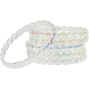 Child Clear Iridescent Bangle Bracelets 6ct