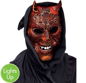 Light-Up Hooded Smoldering Devil Mask