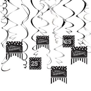 Black & White Birthday Swirl Decorations Kit