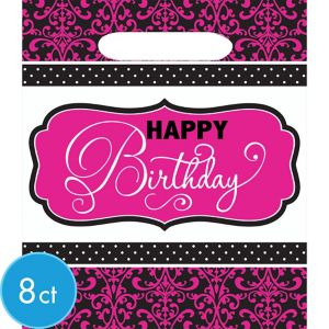 Black & Pink Birthday Favor Bags 8ct