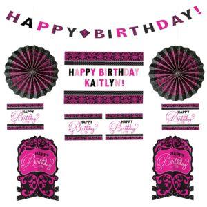 Customizable Black & Pink Birthday Room Decorating Kit
