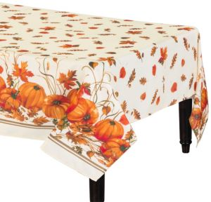 Pumpkin & Leaves Fabric Tablecloth