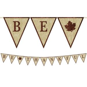 Glitter Be Thankful Burlap Pennant Banner