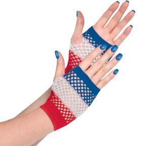 Red, White & Blue Fishnet Glovelettes