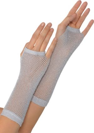 Long Silver Fishnet Gloves Deluxe