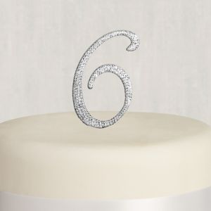 Rhinestone Silver Number 6 Cake Topper