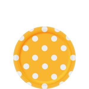 Sunshine Yellow Polka Dot Dessert Plates 8ct