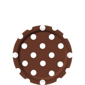 Chocolate Brown Polka Dot Dessert Plates 8ct