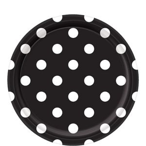 Black Polka Dot Lunch Plates 8ct