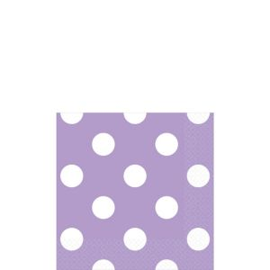Lavender Polka Dot Beverage Napkins 16ct