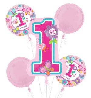 Primer Cumpleanos Balloon Bouquet 5pc - Sweet Girl