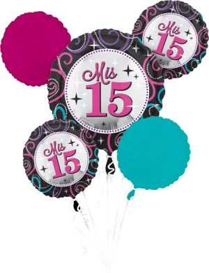 Mis Quince Quinceanera Balloon Bouquet 5pc