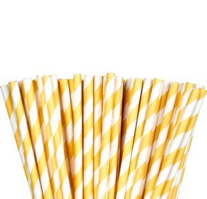 Sunshine Yellow Striped Paper Straws 80ct