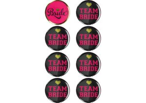Black & Gold Bachelorette Party Buttons 8ct - Sassy Bride