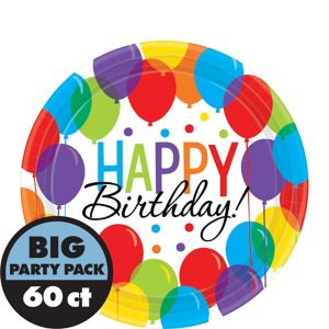 Rainbow Balloon Bash Birthday Dessert Plates 60ct