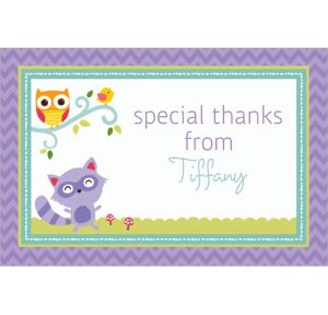 Custom Woodland Welcome Thank You Notes