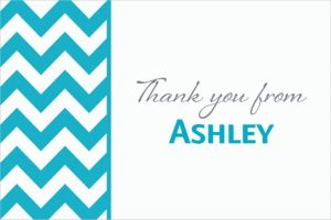 Custom Caribbean Blue Chevron Thank You Notes