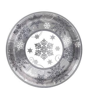 Metallic Sparkling Snowflake Dessert Plates 8ct