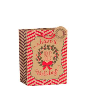 Metallic Holly Jolly Holiday Kraft Christmas Gift Bag