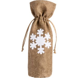 Snowflake Burlap Wine Bag
