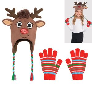 Child Rudolph Reindeer Peruvian Hat & Gloves