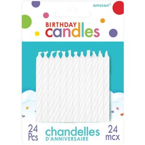 White Spiral Birthday Candles 24ct