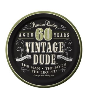 Vintage Dude 60th Birthday Dessert Plates 8ct