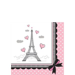 Pink Paris Beverage Napkins 16ct