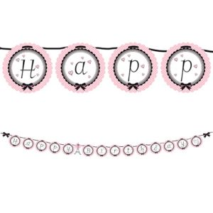 Pink Paris Birthday Banner