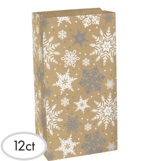 Snowflake Kraft Treat Bags 12ct