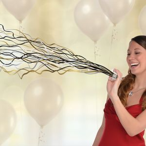 Black, Gold & Silver No Mess Streamers