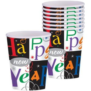 Colorful New Year's Block Party Cups 16ct