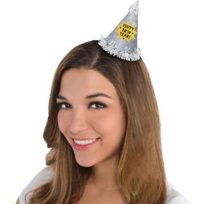 Glitter Silver Happy New Year Mini Party Hat