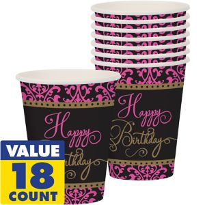 Damask Birthday Cups 18ct - Fabulous Celebration