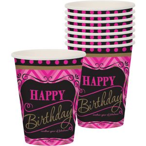 Pink Chevron Birthday Cups 8ct - Born to Be Fabulous
