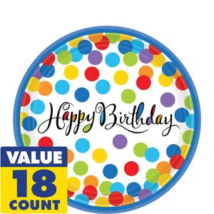 Bright Dot Birthday Dessert Plates 18ct