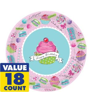 Pastel Birthday Sweets Dessert Plates 18ct
