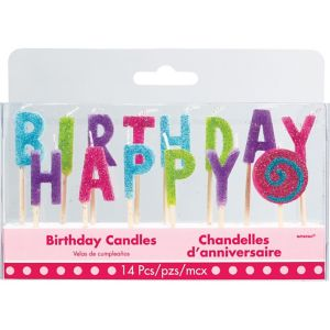 Glitter Multicolor Bright Happy Birthday Toothpick Candle Set 14pc